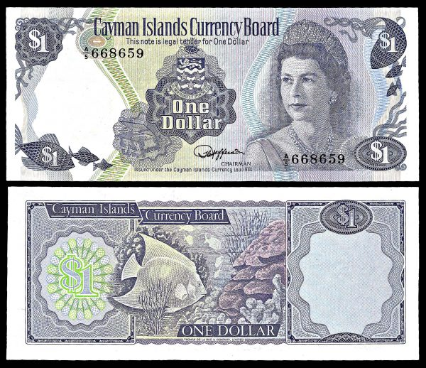 CAYMAN ISLANDS, 1 dollar, Law 1974, P5d