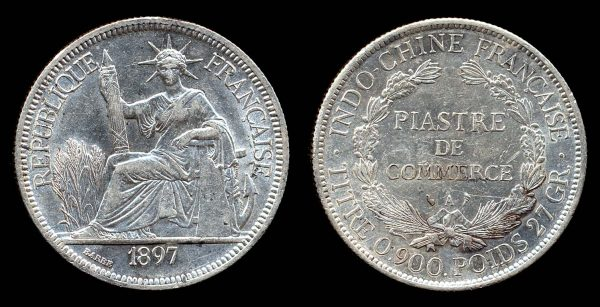 FRENCH INDOCHINA, 1 piastre, 1897
