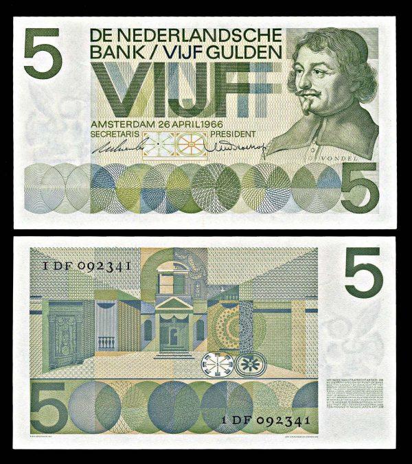 NETHERLAND, 5 gulden, 26.4 1966, P90a
