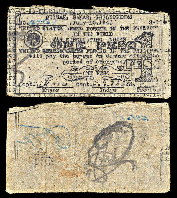 PHILIPPINES, SAMAR, Guiuan, 1 peso, 15,7.1943