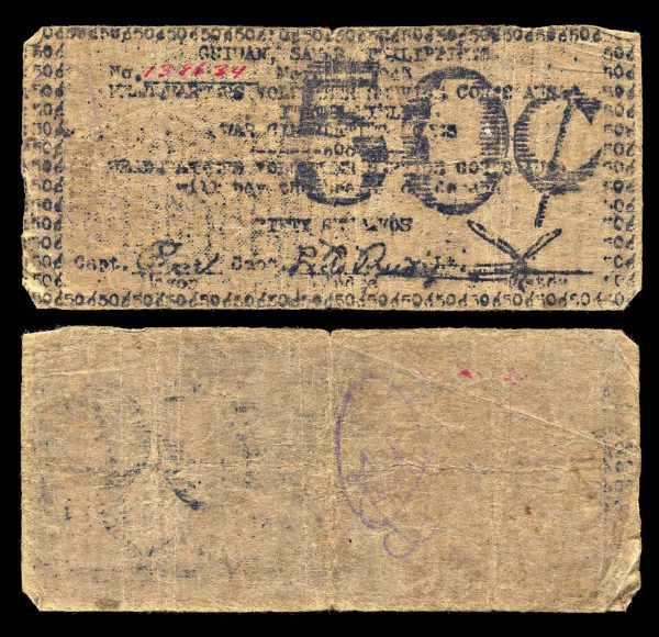 PHILIPPINES, SAMAR, Guiuan, 50 centavos, 1943