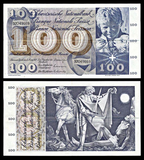 SWITZERLAND, 100 francs, 7.3.1973, P49o