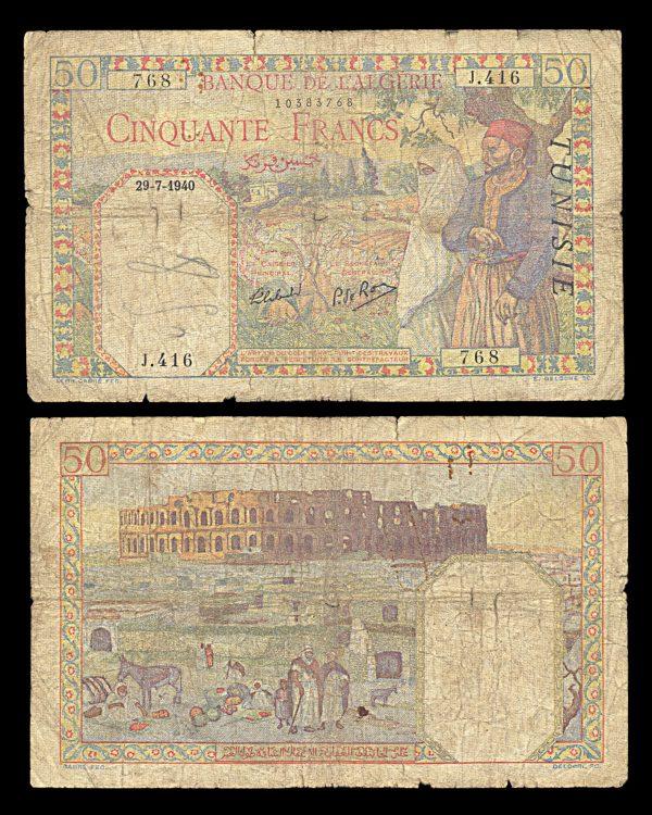 TUNISIA, 50 francs, 29.7.1940, P12a