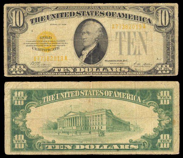 USA, Gold Certificate, 10 dollars, 1928, P400