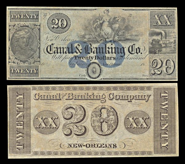 USA, LOUSIANA, New Orleans, New Orleans Canal & Banking Co., 20 dollars