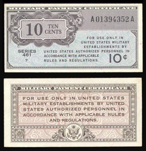USA, Military Payment Certificate, 10 cents, series 461 (1946)