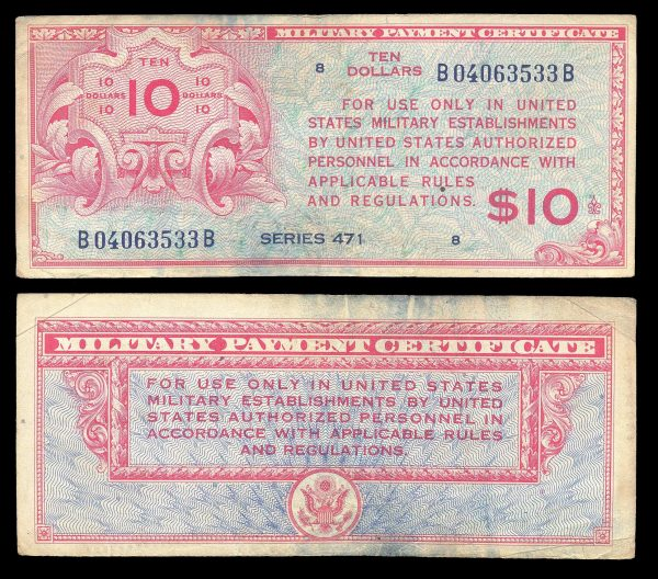 USA, Military Payment Certificate, 10 dollars, series 471 (1947)