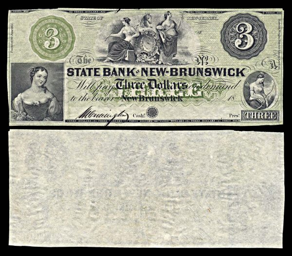 USA, NEW JERSEY, State Bank at New Brunswick, 3 dollars, (1860s)