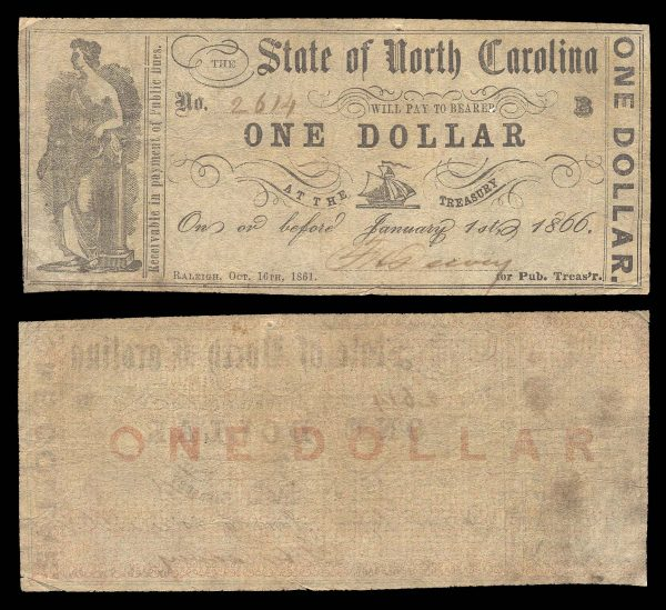 USA, NORTH CAROLINA, 1 dollar, 16.10.1861