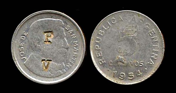 ARGENTINA, countermarked coin