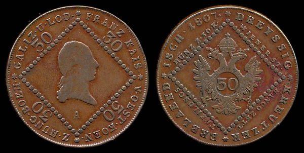 AUSTRIA, 30 kreuzer, 1807 A