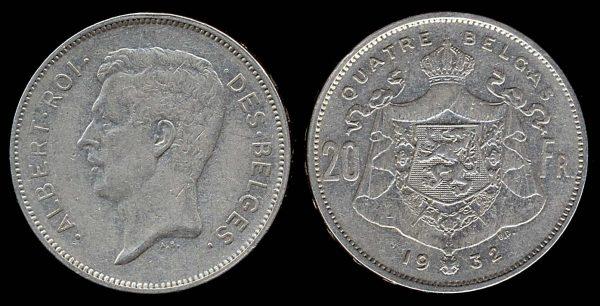 BELGIUM, 20 francs, 1932