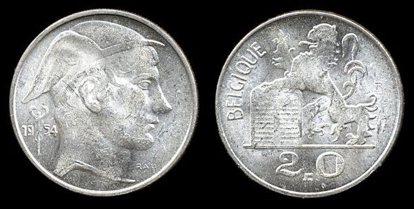 BELGIUM, 20 francs, 1954