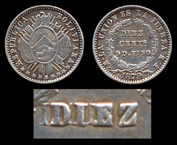 BOLIVIA, 10 centavos, 1879, dramatically recut DIEZ