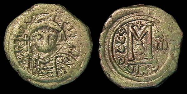 BYZANTINE, Maurice, 582-602 AD, follis, Nicomedia mint