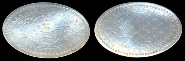 CHINA, mother of pearl gaming chip for the English trade