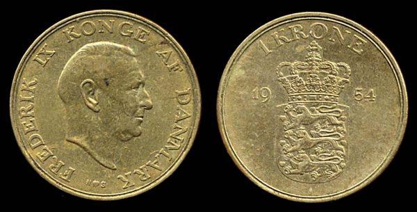 DENMARK, 1 krone, 1954