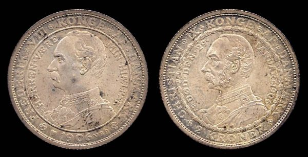 DENMARK, 2 kroner, 1906, Royal Succession