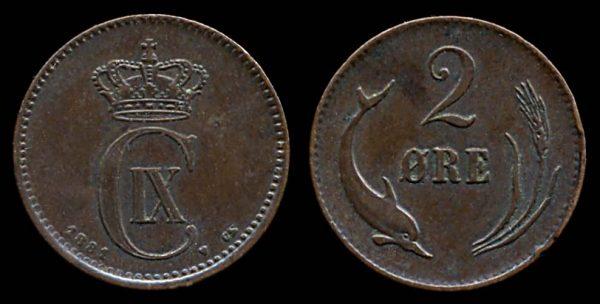 DENMARK, 2 ore, 1881