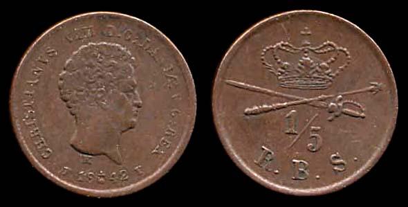 DENMARK, 1/5 rigsbankskilling, 1842