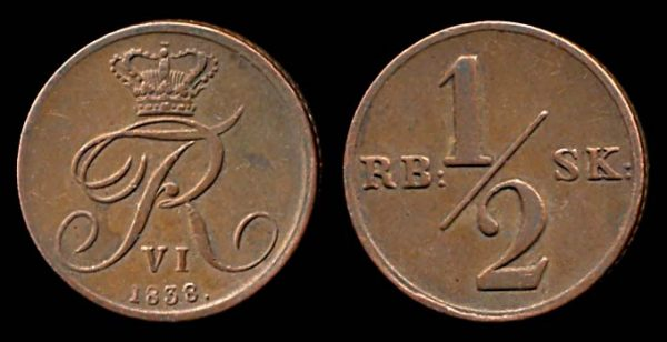 DENMARK, 1/2 rigsbankskilling, 1838