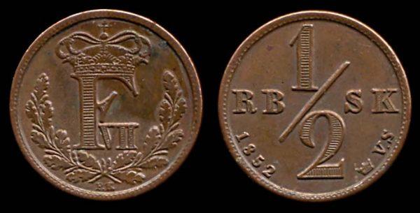 DENMARK, 1/2 rigsbankskilling, 1852