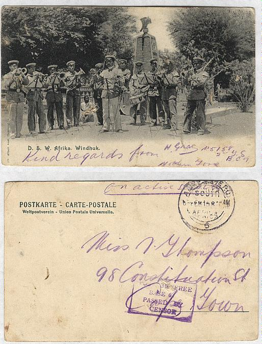GERMAN SOUTHWEST AFRICA, postcard, (1915)