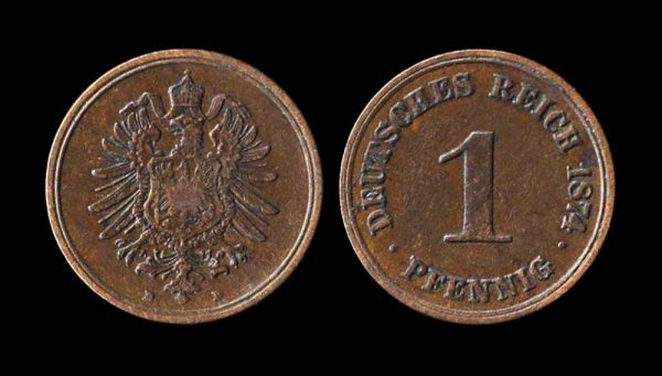 GERMANY, 1 pfennig, 1874 D