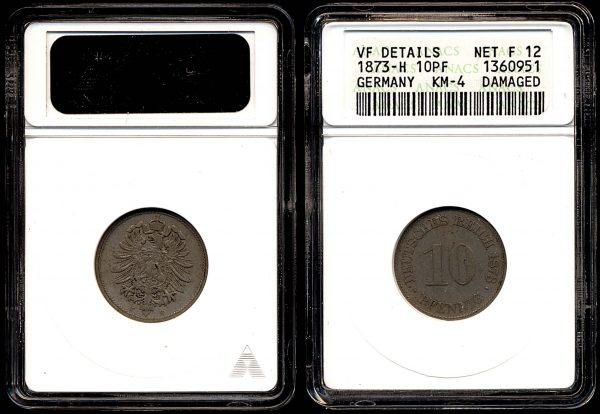 GERMANY, 10 pfennig, 1873 H
