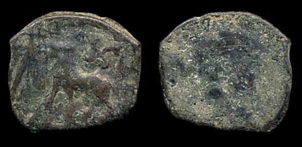 PUSHKALAVATI, civic coinage, 1/4 karshapana, c.185-160 BC