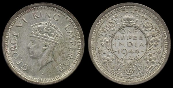 INDIA, REGAL, 1 rupee, 1944 dot, Bombay mint