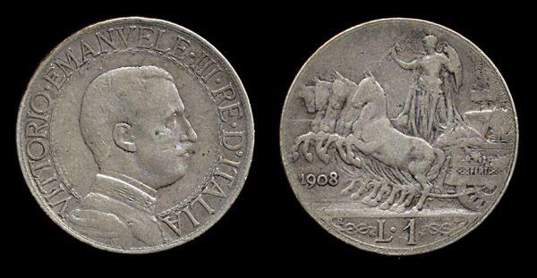 ITALY, 1 lira, 1908 R