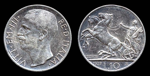 ITALY, 10 lire, 1927 R