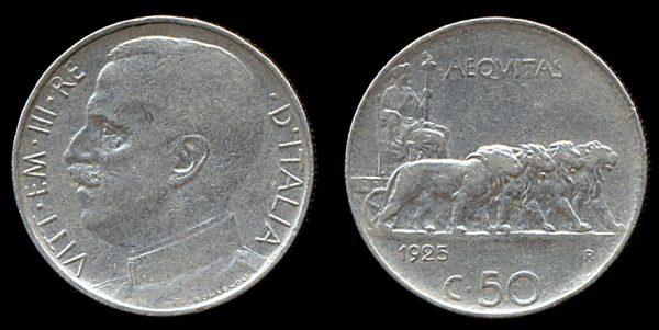 ITALY, 50 centesimi, 1925 R