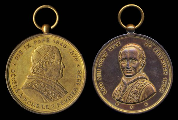 VATICAN, two Popes medal, 1878