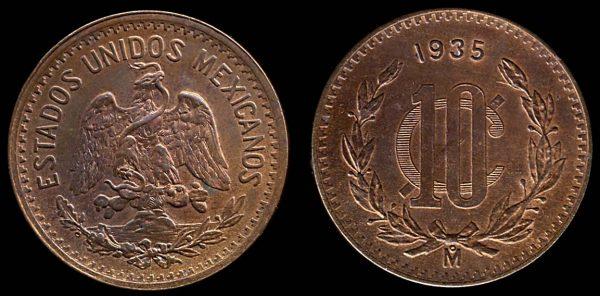 MEXICO, bronze, 10 centavos, 1935