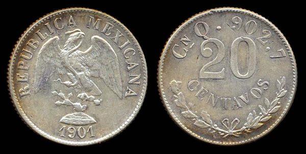 MEXICO, 20 centavos, 1901 CnQ
