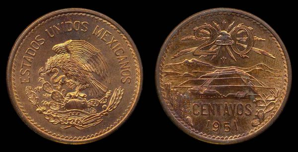 MEXICO, 20 centavos, 1951