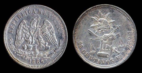 MEXICO, 25 centavos, 1884 HoM