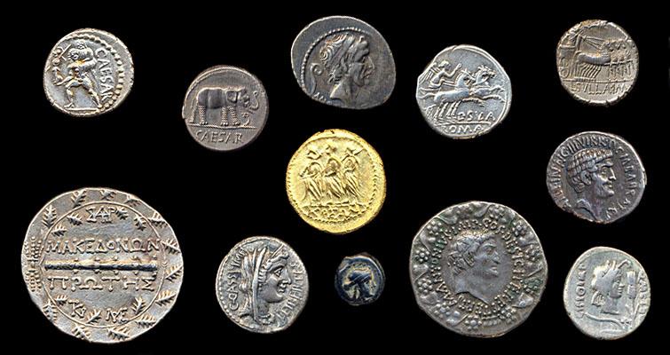 Splash photo of multiple ancient coins | Golden Rule Enterprises