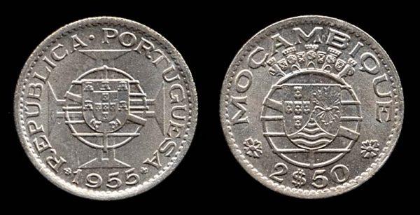 MOZAMBIQUE, 2 1/2 escudos, 1955