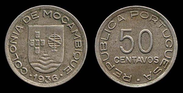 MOZAMBIQUE, 50 centavos, 1936