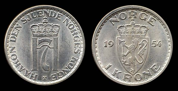 NORWAY, 1 krone, 1954