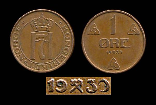 NORWAY, 1 ore, 193-, recut or defective date