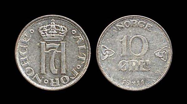 NORWAY, 10 ore, 1911
