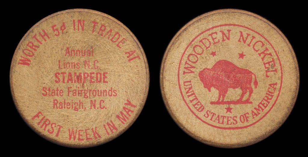 Raleigh, NC Wooden Nickel | State Fairgrounds Golden Rule Enterprises Coins