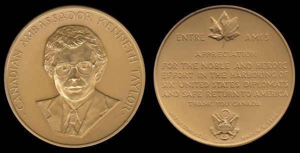 USA, US mint medal for Canadian Ambassador Ken Taylor, 1980