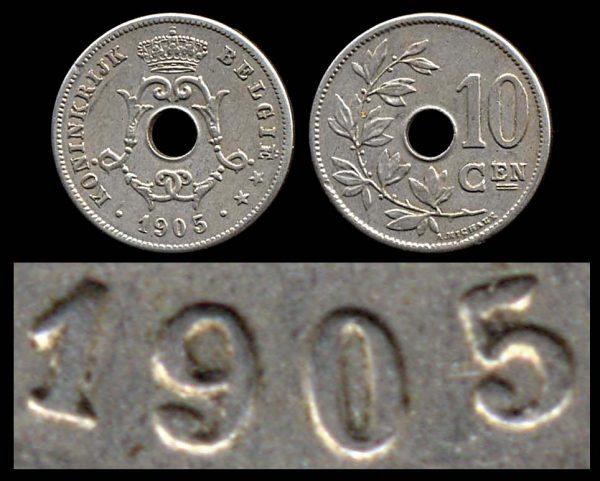 BELGIUM, 10 centimes, 1905