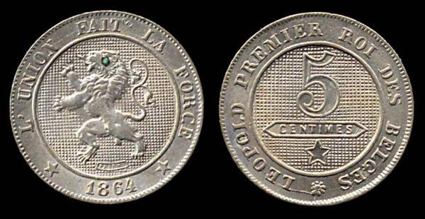 BELGIUM, 5 centimes, 1864