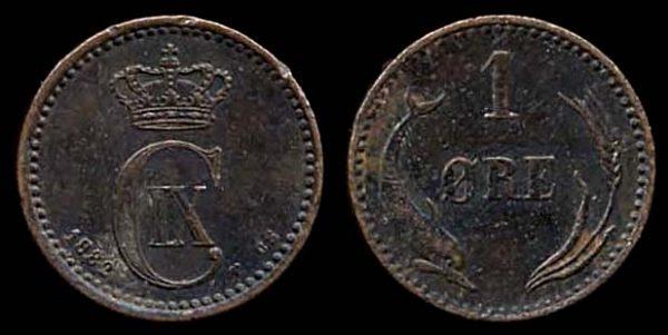 DENMARK, 1 ore, 1882